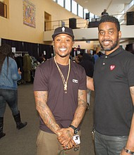A community market featuring a bevy of locally-owned black businesses, food, and live music kicked off a series of Black History Month events at Self Enhancement, Inc. Saturday, the nonprofit serving hundreds of local black families. Pictured are Bryan Walden (left), CEO of Black Mannequin clothing line, and Daunte Devon Paschal, the organizer of the Junction Avenue Black Owned Business Pop-up.