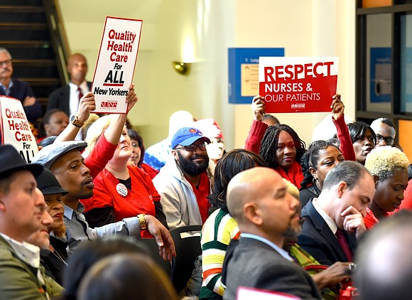 Public hospital nurses of the New York City Health and Hospitals Corporation demanded safe staffing and fair funding as they ...