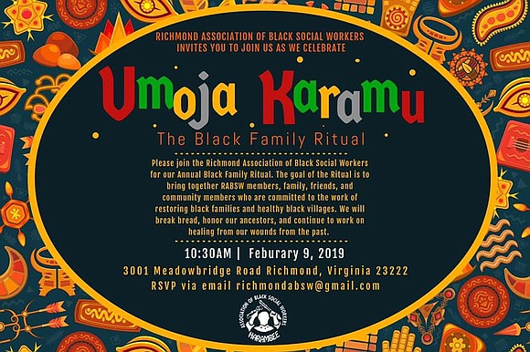 The Richmond Association of Black Social Workers is hosting Umoja Karamu, its annual Black Family Ritual from 10:30 a.m. to ...