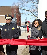: (from left) Attending a Feb. 8, 2019 ribbon-cutting ceremony at Ludwig Beethoven Elementary School in Bronzeville was state Sen. Mattie Hunter (D-3rd); 2nd District Police Commander Dion Boyd; Beethoven Principal Mellodie Brown; and Alderman Pat Dowell (3rd).  Photo credit: Wendell Hutson