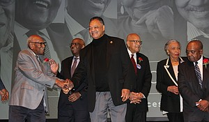 (from left) Honored at a Feb. 7, 2019 unveiling of a new civil rights exhibit at the DuSable Museum of African American History were Timuel Black, a historian; Robert Starks, an educator and political consultant; James Montgomery, an attorney; Rev. Jesse Jackson, founder and president of the Rainbow PUSH Coalition organization; Josie Childs, founder and president of the Harold Washington Legacy Committee; and the Rev. Clyde Brooks, former Chicago branch president of the Southern Christian Leadership Conference. Photo by; Wendell Hutson
