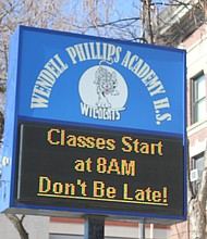 Wendell Phillips Academy High School, 244 E. Pershing Road, was the first all-black, public high school in Chicago when it was founded in 1904. Photo by Wendell Hutson