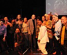Belafonte Alumni Group with Harry Belafonte at Turn the World Around tribute concert on his 91st birthday (Hubert Williams photo)