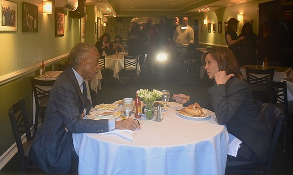 U.S. Senator and Democratic presidential candidate Kamala Harris met with Rev. Al Sharpton Feb. 21 in Harlem at Sylvia's Restaurant.