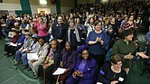 Residents of Buckingham County sing along as a town hall with former vice-president Al Gore and Rev. William Barber begins in Buckingham, Va., Tuesday, Feb. 19, 2019. The town hall is to protest the proposed compressor station in Union Hill for the Atlantic Coast Pipeline.