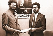 Lenwood Davis (left), director of the Black Studies Center at Portland State University in the early 1970s, with Clarence Barry, the first student to earn a Black Studies certificate from PSU, in a picture from the 1972 Viking yearbook.