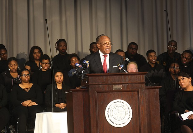 """Honoring the Richmond 34- Dr. Dwight C. Jones Sr., a former Richmond mayor and a VUU alumnus, spoke at the service, """"Faith, Identity & Social Justice,"""" on the need for students and others today to similarly stand up on issues confronting the community. (Regina H. Boone/Richmond Free Press)"""