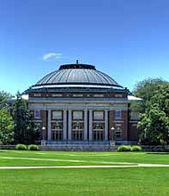 The Foellinger Auditorium (pictured) is located on campus at the University of Illinois at Urbana Champaign where qualifying Illinois residents will now have the opportunity to receive free tuition. Photo Credit: Herbert J. Brant