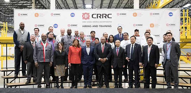 A celebratory press conference was recently held at the CRRC Sifang America manufacturing facility to acknowledge the first day of work for 70 employees who will be responsible for building over 400 new railcars for the Chicago Transit Authority. Photo Credit: Brooke Collins/ City of Chicago