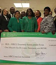 At a Feb. 28, 2019 check presentation by Alpha Kappa Alpha Sorority Inc. 32 presidents from historically black colleges and universities each received $50,000 as part of the organization's initiative to raise $10 million over the next four years for needy students. Photo by Wendell Hutson