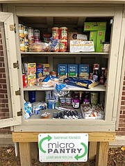 Will County residents in need of food are able to chose whether to pick up what they need anonymously at a micro pantry (left), or in person at an established food pantry (right), or a mobile pantry.