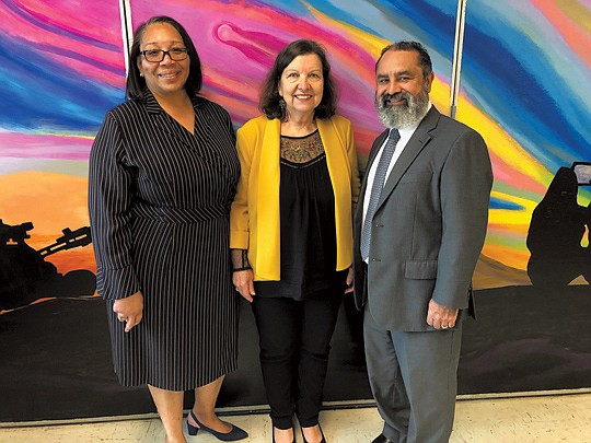 From left: Chrystal Battey-Brown, principal of 109th Street Elementary School; Angela Coron of Kaiser Permanente, and Luis Heckmuller with the Los Angeles Unified School District