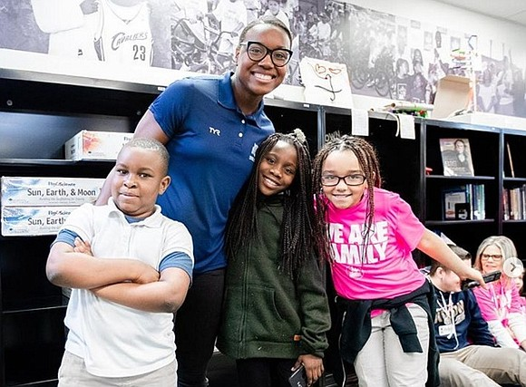Olympic champion Simone Manuel paid a visit to NBA superstar LeBron James' new school in Akron, Ohio. She spoke as ...
