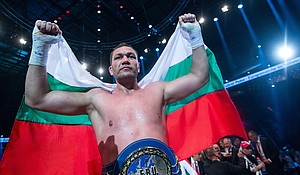"""Kubrat Pulev, the 37-year-old Bulgarian heavyweight champion who knocked out Bogdan Dinu in Costa Mesa, California, over the weekend was so """"elated"""" after his victory, he decided to kiss the female reporter who interviewed him afterward."""