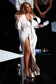 Beyoncé gives an emotional acceptance speech after winning the entertainer of the year award at the NAACP Image Awards last Saturday in Los Angeles.