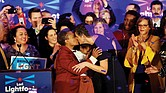 Chicago Mayor-elect Lori Lightfoot, left, kisses her wife, Amy Eshlemen, during her victory celebration Tuesday night after defeating challenger Toni Preckwinkle to become the first African-American woman and openly gay mayor of the city.