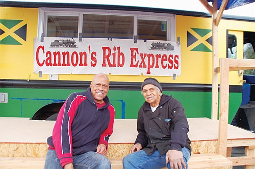 Wayne Cannon (right), longtime owner of Cannon's Rib Express and his friend and part-time chef Darnell Lowery, are encouraging customers old and new to their new food cart  on the corner of Northeast Beech and Martin Luther King Jr. Boulevard.  The cheaper-to-operate location replaces the restaurant space Cannon rented out for several years at the New Seasons Market on Northeast 33rd Avenue.