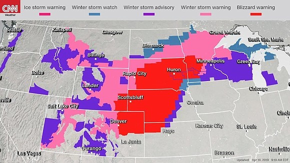 A major spring storm unloaded heavy snow and blizzard conditions from the Dakotas to Minnesota, and is expected to make ...