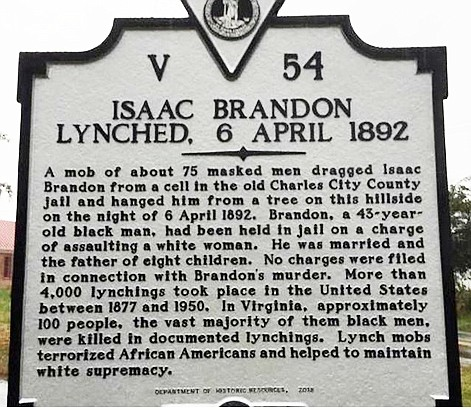 Virginia's first history marker to a lynching victim now stands near the historic courthouse in Charles City County. The new ...