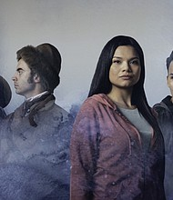 Chris Murray (from left), Nick Ferruci, Nathalie Standingcloud and Robert Mesa star in 'Crossing Mnisose,' a new world premiere play that weaves together Sacajawea' story with that of current efforts by Native Americans and others to save the Missouri River from the Dakota Access Pipeline.