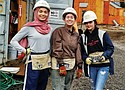Oregon Connections Academy seniors Fatimah Us'Sutteri (from left) and Madi Beck and sophomore Camille Fox spend a rewarding day of volunteering at the Habitat for Humanity Cully Place Build site in northeast Portland.