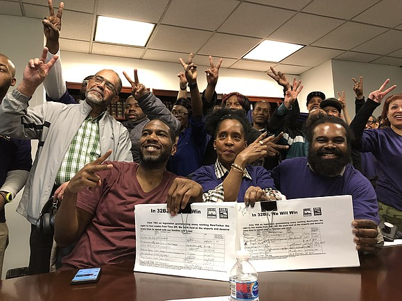 Airport workers from LaGuardia and John F. Kennedy International Airports met with New York City Public Advocate Jumaane Williams to ...