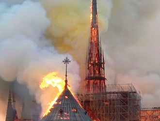 A catastrophic fire shoots up the spire of Notre Dame Cathedral in Paris on Monday, threatening one of the architectural treasures of Europe.
