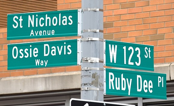 The northeast corner of 123rd Street and Saint Nicholas Avenue in Harlem now bears the names of famed acting and ...
