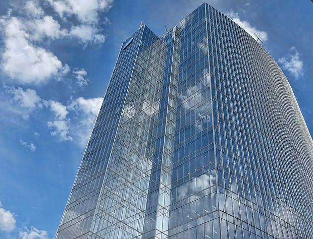 This sleek, 20-story glass tower rises 413 feet into the sky in the block bounded by Cary, Canal, 6th and 7th streets in Downtown. When completed, this latest addition to the city's skyline, now dubbed Canal Place, will house employees of Dominion Energy. The building has been two years and more than $250 million in the making and is the first of two towers the company plans to construct. A similar, 17-story tower is proposed next door on the property that now houses Dominion Energy's One James Center building. (Sandra Sellars/Richmond Free Press)
