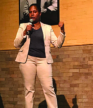Fourth Ward Alderman, Sophia King (pictured), recently hosted a Town Hall Meeting to give residents an update on a variety of topics including development, safety, infrastructure, education in the Fourth Ward. Photo Credit: Katherine Newman