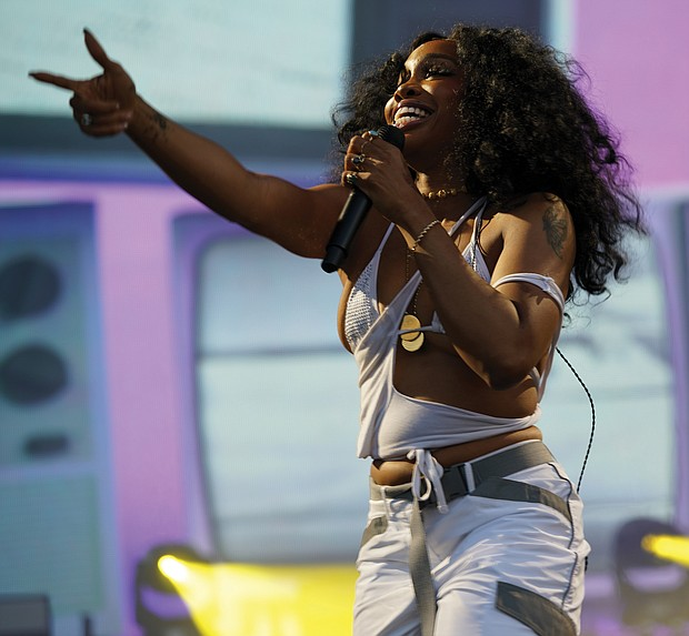 Singer SZA fires up the crowd on Saturday.