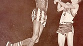 Jackie Jackson scores for the Harlem Globetrotters.
