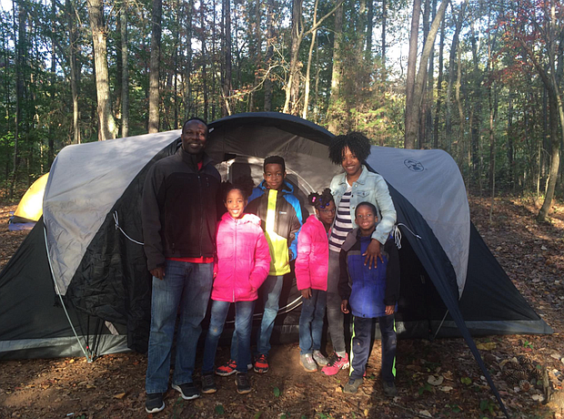 Family camping trip in Anne Springs in South Carolina