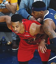 CJ McCollum was unstoppable as the Blazers beat the Denver Nuggets on Sunday in Denver to advance to the NBA Western Conference Finals against the Golden State Warriors. (AP photo)
