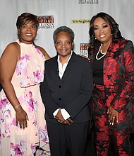 Kimberly McCullough-Starks, event host, President and CEO Platinum Public Strategies,LLC, Chicago Mayor-elect Lori E. Lightfoot and Star Jones Lugo, journalist, author, women's and diversity advocate