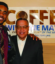 Attorney Mario Reed (left) recently spoke to south suburban residents at the Village of Dolton's monthly Coffee With the Mayor event. Photo Credit: Village of Dolton