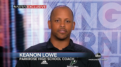 Parkrose High School coach and security guard Keanon Lowe is interviewed on ABC 's Good Morning America on Sunday in reaction to the former University of Oregon football star  tackling an armed student at the northeast Portland school on Friday, and averting a school shooting.