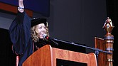 Virginia State University alumna Congresswoman Lucy McBath of Georgia urges graduates to fight on to help others during Sunday afternoon's ceremony.