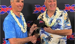XFL Commissioner & CEO Oliver Luck and Houston XFL Head Coach June Jones