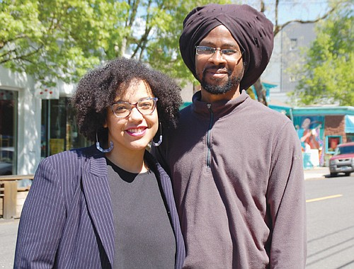 Kayin Talton Davis (left) and Cleo Davis is the wife and husband team behind the design of permanent obelisk-shaped historical markers slated to appear on Northeast Alberta Street this summer. The works will feature text and graphics of eight African American history makers of the region. The couple is standing near the intersection of Alberta and 14th Avenue, the future spot for one of the markers.