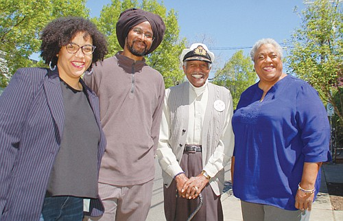 Kayin Talton Davis and Cleo Davis (from left), creators of five major historical markers coming this summer to Northeast Alberta Street, with two of the history makers featured in the installations, Paul Knauls Sr. and Donna Hammond. The Obelisk-like shaped markers will recognize and celebrate the shared African American history of the neighborhood.