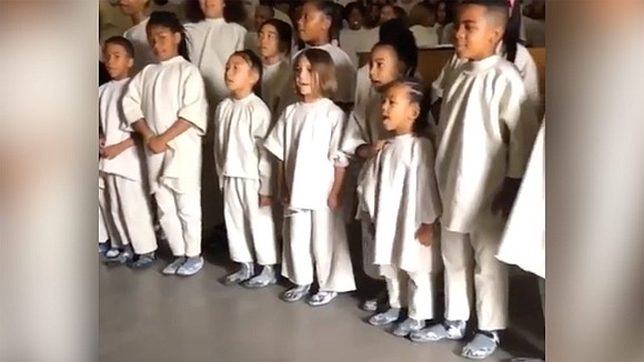 Kanye West's Sunday Services are becoming a family affair. Two of his children, daughter North and son Saint, popped up ...