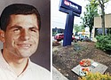 A permanent memorial to a beloved neighborhood figure, Eddie 'The Weatherman' Morgan (left), can be seen at the spot he was slain 25 years ago, in front of the US Bank on Northeast 42nd and Alberta.