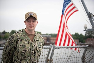 Petty Officer 1st Class Dustan Rhodes, a native of Houston, is participating in the Baltic Operations (BALTOPS) exercise with 18 ...
