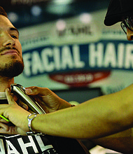 """Wahl hosted Mitchell Trubisky at its mobile barbershop during the Bears100 Celebration Weekend June 8, 2019. Trubisky's beard trim kicked-off Wahl's annual """"Facial Hair Friendly Cities Tour."""""""