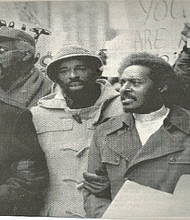 Dr. Sam Penn. Mr. Jitu Weusi, former Assemblyman Al Vann, Reverend Dr. Herbert Daughtry, Sr. and Reverend Dr. Karen S. Daughtry during a demonstration December 1977.