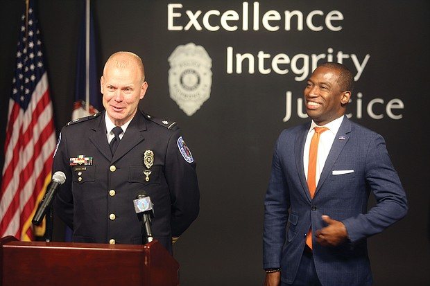 """Richmond's new police chief, William C. """"Will"""" Smith, addresses the media Wednesday at a news conference announcing his appointment to chief from interim chief."""