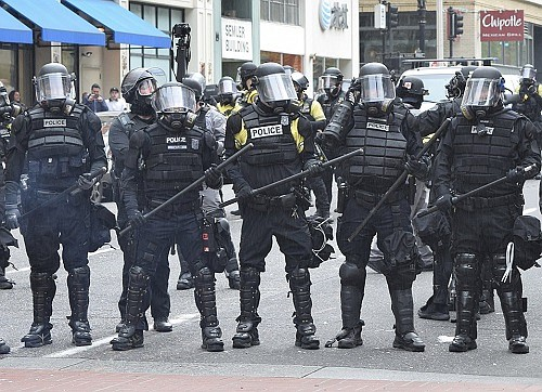 Portland Police are equipped with riot gear during a demonstration in this 2017 file photo.