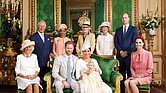 This official photograph from the christening of Archie, the son of Prince Harry and Meghan Markle, shows the baby's family in the Green Drawing Room at Windsor Castle near London where the christening was held last Saturday. The proud parents, seated center, Prince Harry and Ms. Markle, the Duke and Duchess of Sussex, show off baby Archie in his christening robe. With them are, from left, Prince Harry's stepmother, Camilla, the Duchess of Cornwall; Prince Harry's father, Prince Charles; Ms. Markle's mother, Doria Ragland; Prince Harry's aunts, Lady Jane Fellowes and Lady Sarah McCorquodale; Prince Harry's brother and sister-in-law, Prince William and Kate, the Duke and Duchess of Cambridge.