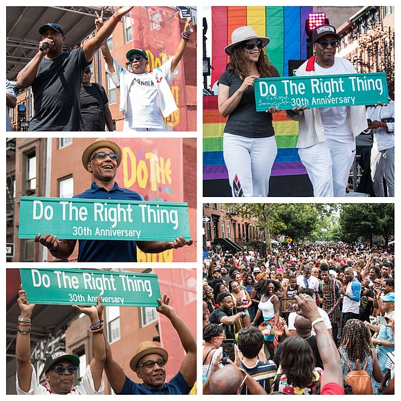 "Spike Lee celebrated the 30th anniversary of his movie ""Do The Right Thing"" with a block party in Bed-Stuy, Brooklyn ..."